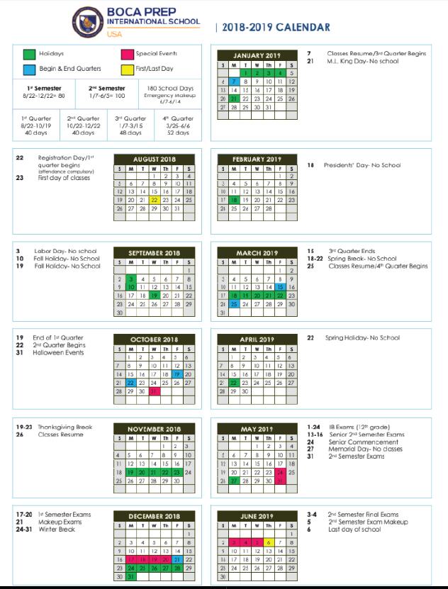 Calendario Serie A 18 19 Pdf.Bpis Calendar Boca Prep International School