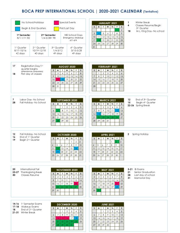 University Of Miami Spring 2022 Calendar.Bpis Calendar Boca Prep International School